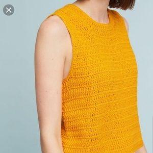Moth Crochet Mustard Yellow Tank